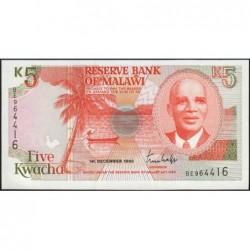 Malawi - Pick 24a - 5 kwacha - Série BE - 01/12/1990 - Etat : NEUF