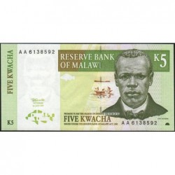 Malawi - Pick 36a - 5 kwacha - Série AA - 01/07/1997 - Etat : NEUF