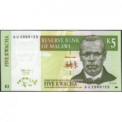 Malawi - Pick 36a - 5 kwacha - Série AU - 01/07/1997 - Etat : SPL+