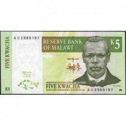Malawi - Pick 36a - 5 kwacha - Série AU - 01/07/1997 - Etat : NEUF