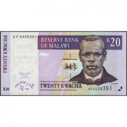 Malawi - Pick 44a - 20 kwacha - Série AF - 01/10/2001 - Etat : NEUF