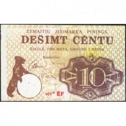 Lituanie - Ville de Siauliai - 10 centu - Série EF - 1989 - Etat : NEUF
