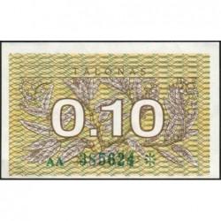 Lituanie - Pick 29a - 0,10 talonas - Série AA - 1991 - Etat : NEUF