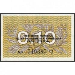 Lituanie - Pick 29b - 0,10 talonas - Série AB - 1991 - Etat : NEUF