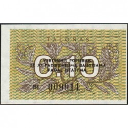 Lituanie - Pick 29b - 0,10 talonas - Série BL - 1991 - Etat : NEUF