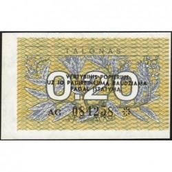 Lituanie - Pick 30 - 0,20 talonas - Série AG - 1991 - Etat : SUP