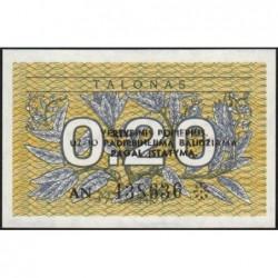 Lituanie - Pick 30 - 0,20 talonas - Série AN - 1991 - Etat : SUP