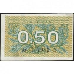Lituanie - Pick 31a - 0,50 talonas - Série AI - 1991 - Etat : TTB+