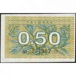 Lituanie - Pick 31a - 0,50 talonas - Série AI - 1991 - Etat : SPL