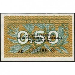 Lituanie - Pick 31b - 0,50 talonas - Série AD - 1991 - Etat : NEUF