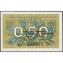 Lituanie - Pick 31b - 0,50 talonas - Série BA - 1991 - Etat : NEUF
