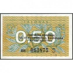 Lituanie - Pick 31b - 0,50 talonas - Série BB - 1991 - Etat : NEUF