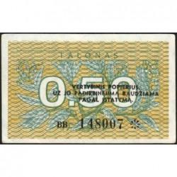 Lituanie - Pick 31b - 0,50 talonas - Série BB - 1991 - Etat : SUP