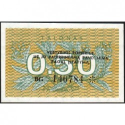 Lituanie - Pick 31b - 0,50 talonas - Série BG - 1991 - Etat : NEUF