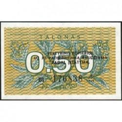 Lituanie - Pick 31b - 0,50 talonas - Série BI - 1991 - Etat : NEUF