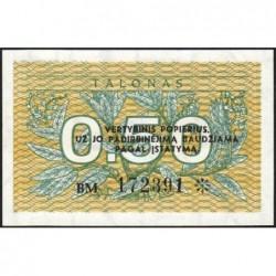 Lituanie - Pick 31b - 0,50 talonas - Série BM - 1991 - Etat : NEUF