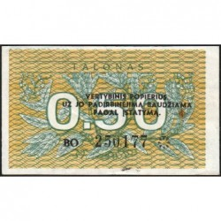 Lituanie - Pick 31b - 0,50 talonas - Série BO - 1991 - Etat : NEUF