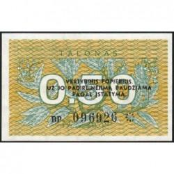 Lituanie - Pick 31b - 0,50 talonas - Série BP - 1991 - Etat : NEUF