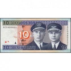 Lituanie - Pick 65 - 10 litu - Série AC - 2001 - Etat : NEUF