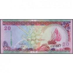 Maldives - Pick 20c - 20 ruffiyaa - Série E - 29/12/2008 - Etat : NEUF