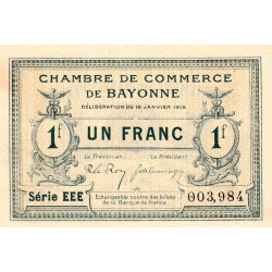 Bayonne - Pirot 21-15 - 1 franc - 1915 - Etat : SPL