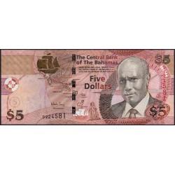 Bahamas - Pick 72 - 5 dollars - Série D - 2007 - Etat : NEUF