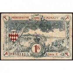 Monaco - Pirot 136-6 - 1 franc - Série C - 16/03/1920 (1921) - Etat : TB-
