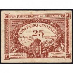 Monaco - Pirot 136-9 - 25 centimes - Sans série -16/03/1920 -  Etat : TB