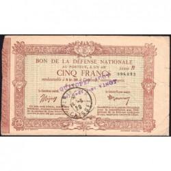 75 - Paris - Bon de la Défense Nationale - 1920 - 5 francs - Série C - Etat : TB