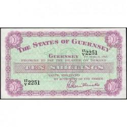 Guernesey - Pick 42b - 10 shillings - Série 17/V - 01/03/1965 - Etat : TTB