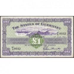 Guernesey - Pick 43b - 1 pound - Série 37/X - 01/06/1963 - Etat : TB+