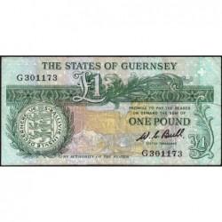 Guernesey - Pick 48a - 1 pound - Série G - 1980 - Etat : TB-