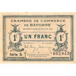 Bayonne - Pirot 21-18 - 1 franc - Série b - 16/01/1915 - Etat : SUP