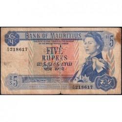 Maurice (île) - Pick 30a - 5 rupees - Série A/14 - 1967 - Etat : AB