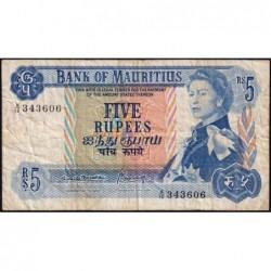 Maurice (île) - Pick 30b - 5 rupees - Série A/16 - 1970 - Etat : TB-