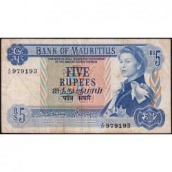 Maurice (île) - Pick 30b - 5 rupees - Série A/21 - 1970 - Etat : TB