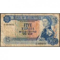 Maurice (île) - Pick 30b - 5 rupees - Série A/23 - 1970 - Etat : TB-