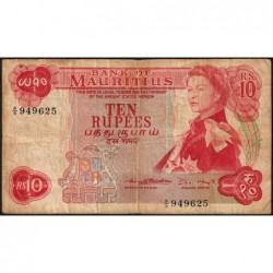 Maurice (île) - Pick 31b - 10 rupees - Série A/9 - 1970 - Etat : B+