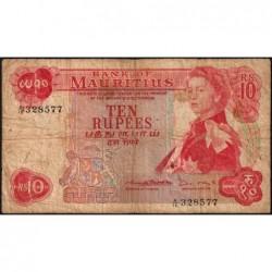 Maurice (île) - Pick 31b - 10 rupees - Série A/16 - 1970 - Etat : B+