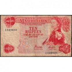 Maurice (île) - Pick 31c - 10 rupees - Série A/42 - 1974 - Etat : TB-