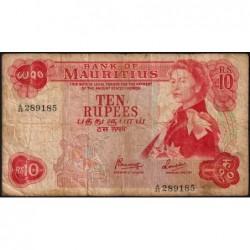 Maurice (île) - Pick 31c - 10 rupees - Série A/45 - 1974 - Etat : B+