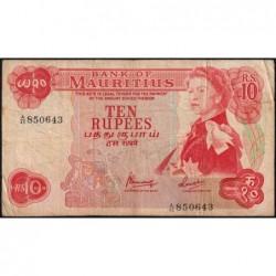 Maurice (île) - Pick 31c - 10 rupees - Série A/45 - 1974 - Etat : TB