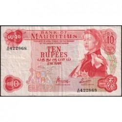 Maurice (île) - Pick 31c - 10 rupees - Série A/60 - 1974 - Etat : TB+