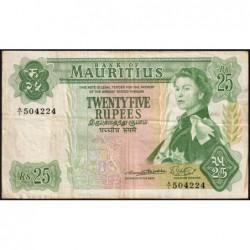 Maurice (île) - Pick 32a - 25 rupees - Série A/1 - 1967 - Etat : TTB-
