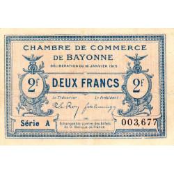 Bayonne - Pirot 21-19a - 2 francs - Série A - 16/01/1915 - Etat : TTB