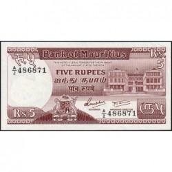 Maurice (île) - Pick 34 - 5 rupees - Série A/2 - 1985 - Etat : SPL+