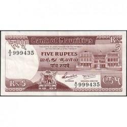 Maurice (île) - Pick 34 - 5 rupees - Série A/2 - 1985 - Etat : TTB
