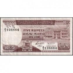Maurice (île) - Pick 34 - 5 rupees - Série A/3 - 1985 - Etat : TTB-