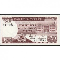 Maurice (île) - Pick 34 - 5 rupees - Série A/9 - 1985 - Etat : SPL+