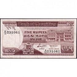 Maurice (île) - Pick 34 - 5 rupees - Série A/12 - 1985 - Etat : TTB-